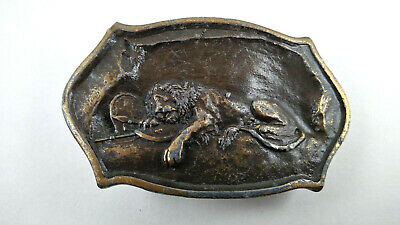 Vintage Lion in Cave Sleeping on Shield & Spear Gold Brass Pewter Belt Buckle