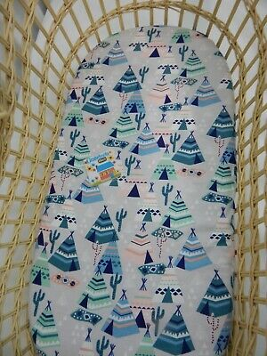 Bassinet Fitted Sheet Flannelette Blue Tepee Cactus - FITS STANDARD BASSINET