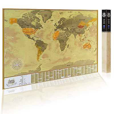 Vintage Scratch Off Map with Capitals, Original Gold Color Surface Design, Map -