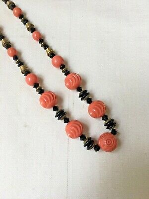 Vintage Art Deco 1920s 1930s Carved Galalith Celluloid Pink Black Bead Necklace