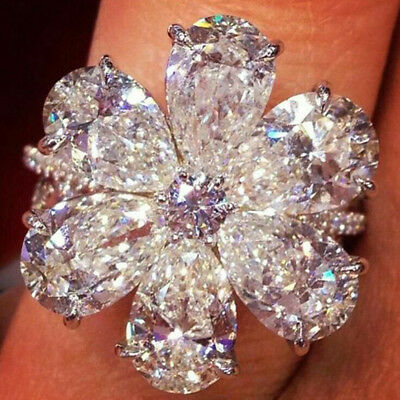 Charming Women Jewelry 925 Silver White Sapphire Floral Flower Ring Wedding #8