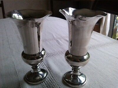 Pair of Solid Silver Vases