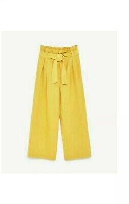 8a306696 ZARA SS17 YELLOW Linen Trousers With Belt Size S NWT - $59.00 | PicClick