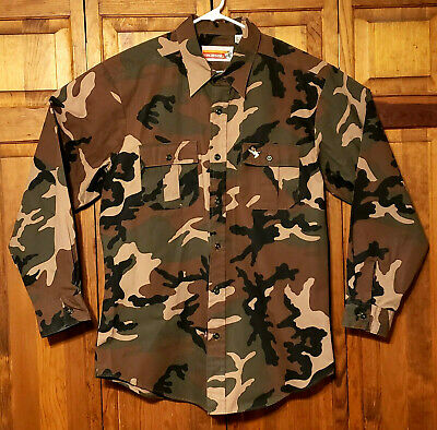 Winchester Mens Large Camo Hunting Shirt Button Front Long Sleeve 2 Pocket Duck
