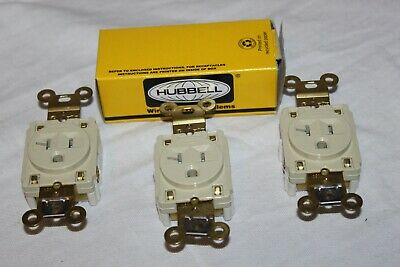 3 Hubbell HBL5361I Straight Blade Single Receptacle 20A 125V 3W 5-20R, Open box