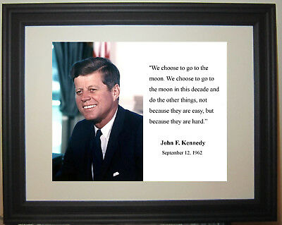 President John F. Kennedy JFK USA Moon Famous Quote Framed & Matted Photo