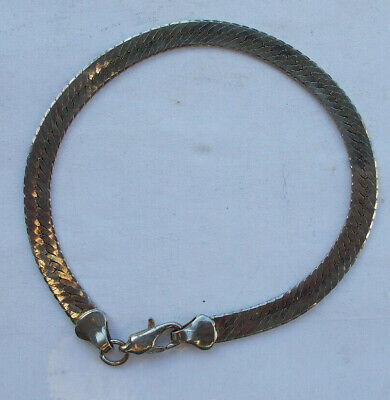 "Vintage 14K White Gold Italy Chain Bracelet 8"" Signed Great Shape Jewelry Filled"