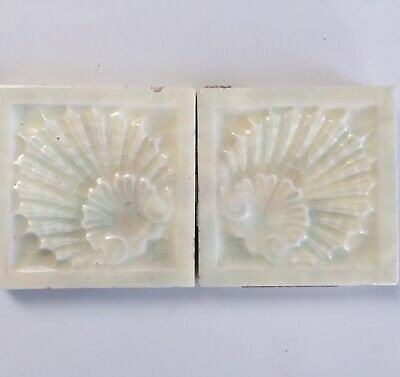 """PaIr of Victorian Old Bridge 3""""x3"""" Scallop Shell Antique Tiles"""