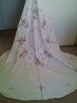 Vintage White Linen Brown Flowers Embroidery Round Table Cloth-65X65-Pretty