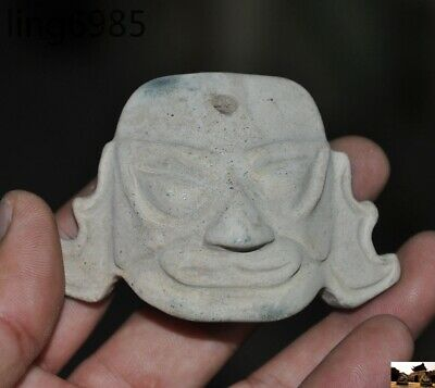 China Sanxingdui culture Natural Old Jade hand carved people face statue pendant
