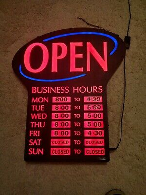 NEWON LED OPEN Sign Blue Red w/ Flashing Wave Effects Business Pub