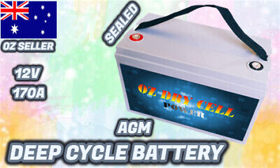 170A  Agm 12V Deep Cycle Battery Camper Trailer Sealed Portable  Solar Marine