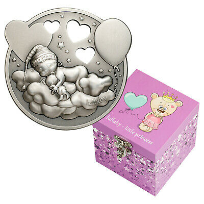 2019 Cook Islands $5 Lullaby Little Princes 1oz Antique Silver Coin in Music Box