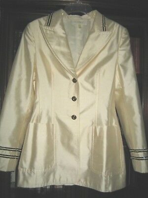 efea9b59022 Escada Silk Blazer In Cream Sleeves & Collar Embellished In Nautical Flair  ...