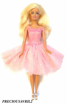 New Barbie doll clothes wedding party evening clothing outfit pink party dress.