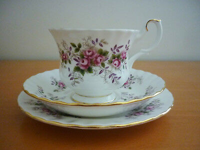 Vintage Royal Albert Lavender Rose Trio Set Footed Cup Saucer&Side Plate England