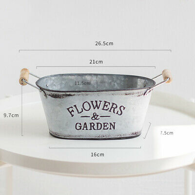 Vintage Galvanised Metal Iron Planter Dolly Bath Tub Plant Blossom Pot Garden