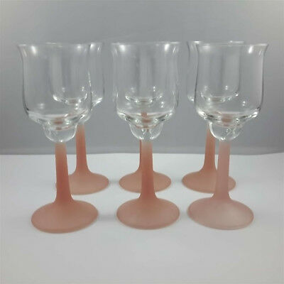 Set of 6 Vintage Pink Frosted Stems Sherry Port Wine Glasses CG2