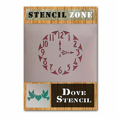 Antique Clock Vintage Shabby Chic Mylar Painting Wall Art Stencil (A2 Size...