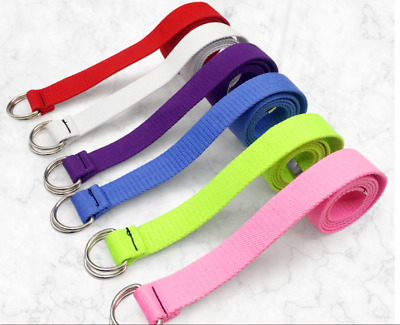 New Unisex Rave Festival Hip Hop Long Canvas D Ring Belt Many Colours  Uk Seller