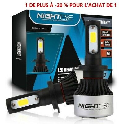 2X H7 LED Voiture Ampoules 72W 9000LM Feux Phare Lampe Kit Blanc HIC Nighteye BM