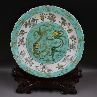FINE Rare Chinese Antique Qing Famille Rose Porcelain Dragon Plate