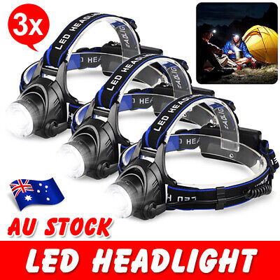 3X LED Rechargeable HeadLamp Light Head Torch CREE 21000LM XML T6 Camp Bright