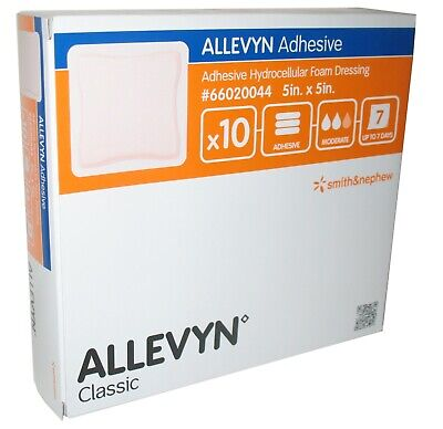 Allevyn Classic 66020044 5x5 Hydrocellular Adhesive Wound Box of 10 Smith Nephew