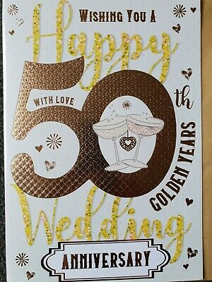 WISHING YOU A HAPPY 50th GOLDEN YEARS ANNIVERSARY CARD (medium size card)