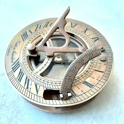 Antique Nautical Brass Sundial Compass Vintage Marine