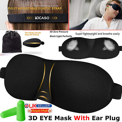 1-10pcs 3D Soft Padded Blindfold Eye Mask Travel Sleep Aid Shade Cover Ear Plugs