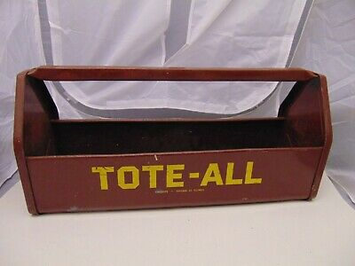 Vintage Solid Metal Retro Tote-All Carry Tool Caddy Box Simonsen Chicago 51 Old