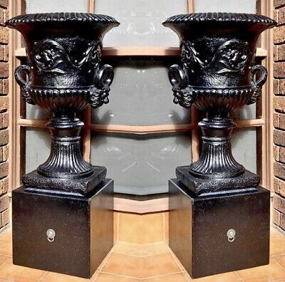 Brand New Pair Of Large Black Garden Urns With Lion Head Handles And Pedestals