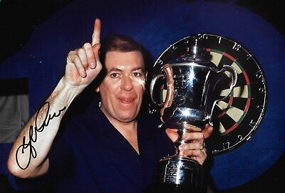john lowe holding up world championship trophy BDO signed 12x8 photo