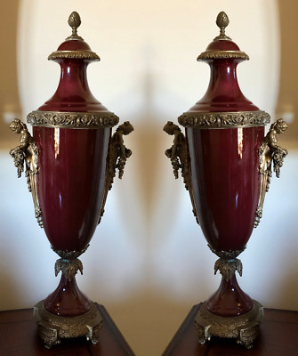 Pair Of Large Porcelain Lidded Urns With Brass Ormolu Figural Mounts