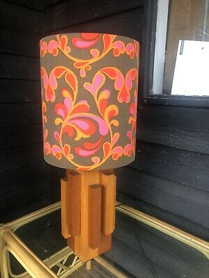 1960s/70s Retro Teak Wood Lamp Superb Con With 1970s Material Hand Made Shade