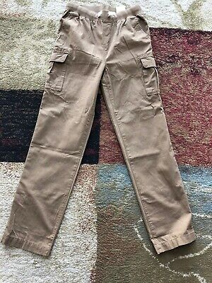 d5913c269 Lands End Boys Cargo Pant Iron Knee Pull On Khaki French Walnut Kids Large  14/