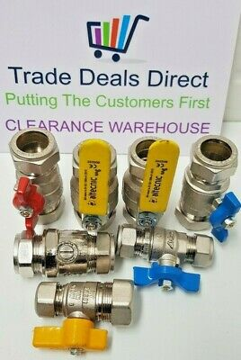Mixed Joblot x7 Lever Ball Valves hot Red cold Blue & Yellow Handles 22mm 15mm