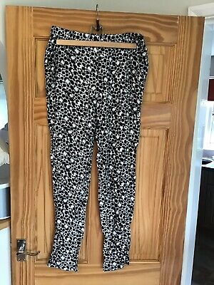 French Connection Ladies Trousers Pant - Black/White Pattern, Size 10