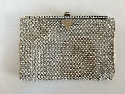 Vintage 1950s rhinestone beaded clutch evening bag Bridal Wedding