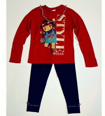 Girls Silvian Heach Red Long Sleeve T-Shirt & Navy Leggings Set Age 2