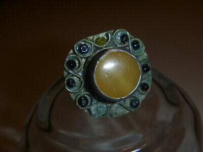 Beautiful Rare Medieval Renaissance Yellow Stone Ornate Brass Ring  7.5
