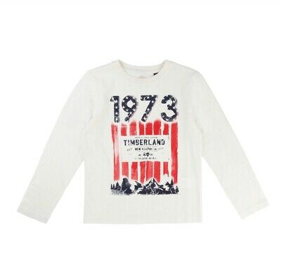 Boys Timberland Off White Printed Long Sleeve T-Shirt Age 4