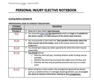 Personal Injury Elective 2018 LPC Ulaw Notes Distinction achieved! EMAIL DELIVER