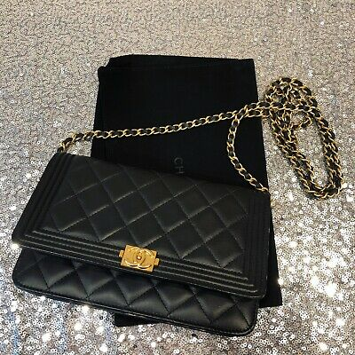 c77a3b0ebc5e CHANEL BOY WOC Wallet On Chain Black Lambskin Brushed Gold Hardware ...
