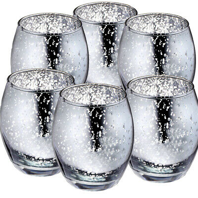Pack Of 6 Large Silver Tea Light Candle Holders Birthday Party Anniversay Table