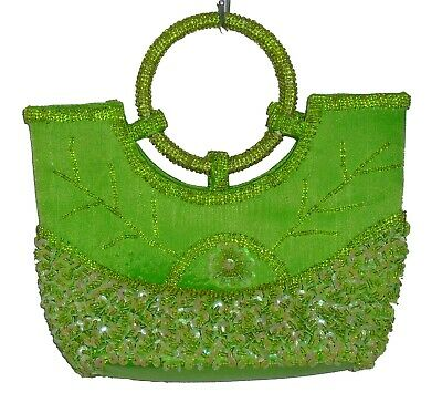 Beaded bags wedding - party - evening - top handle green