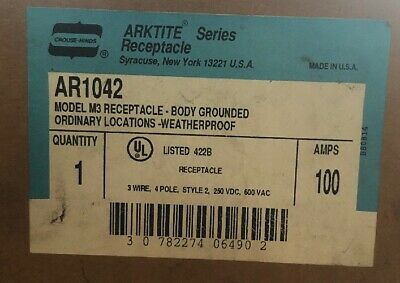 Crouse Hinds AR1042 100 amps 3 wire 4 pole Body Grounded works w/ APJ10487 NEW