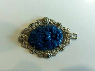 Carved Blue Lapis Lazuli Pendant Sterling Silver Setting