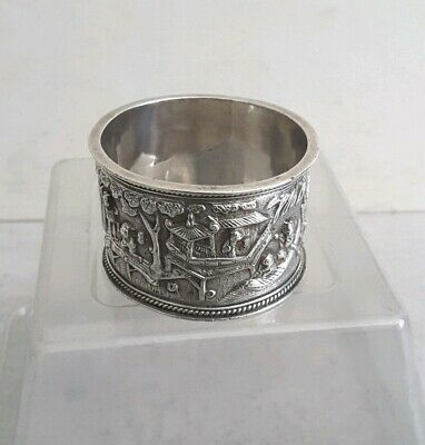 QUALITY,  CHINESE ANTIQUE SOLID SILVER NAPKIN RING.               c.1900.